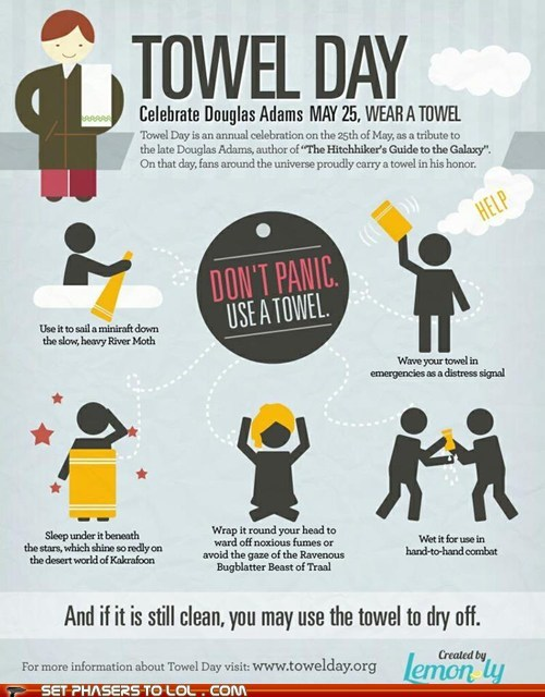 best of the week,dont-panic,Douglas Adams,ford prefect,Hitchhiker's Gui,Hitchhikers Guide To the Galaxy,infographic,towel