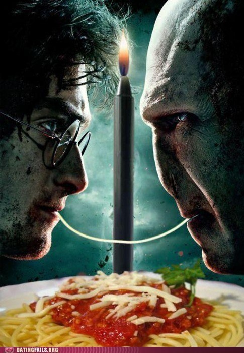 Harry Potter,lady and the tramp,spaghetti,voldemort
