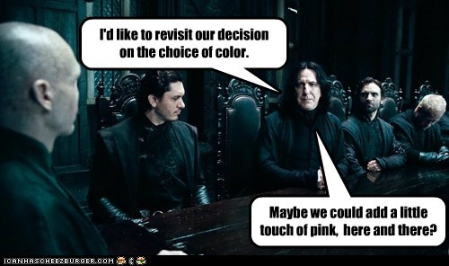 Alan Rickman,black,choice,color,death eaters,Harry Potter,meeting,pink,Severus Snape