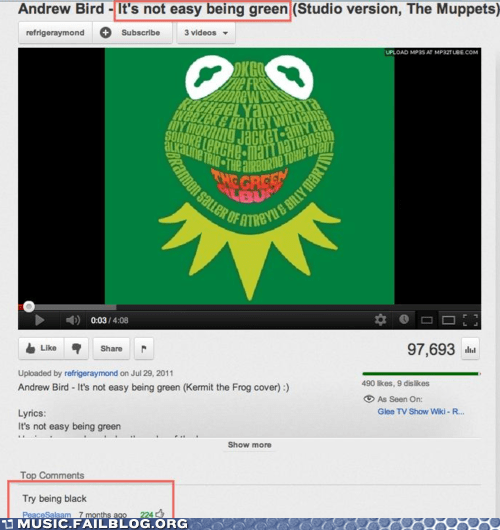 andrew bird,black,comment,its-not-easy-being-green,racism,the muppets,youtube,youtube comment
