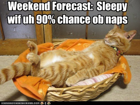 Weekend Forecast: Sleepy wif uh 90% chance ob naps SirT