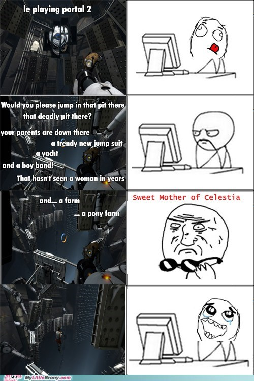 gladOS,pony farm,portal 2,Rage Comics,trap
