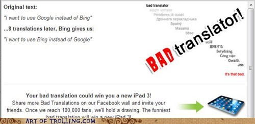 Bad Translator bing google search engine - 6266956800