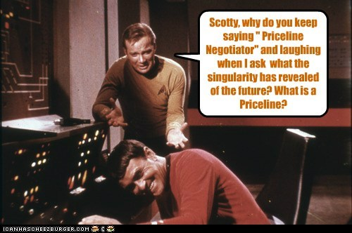 Captain Kirk,future,james doohan,laughing,priceline,scotty,Shatnerday,Star Trek,William Shatner