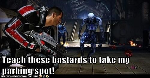 bastards,commander shepard,enemies,mass effect,parking spot,shoot,teach
