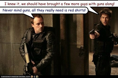 david hewlett guns joe flanigan john sheppard protection red shirts rodney mckay Stargate stargate atlantis