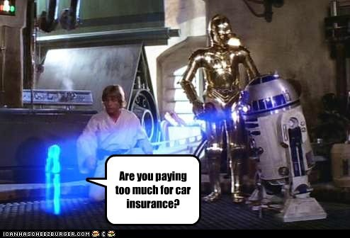ads,c3p0,car insurance,luke skywalker,Mark Hamill,Princess Leia,r2d2,star wars