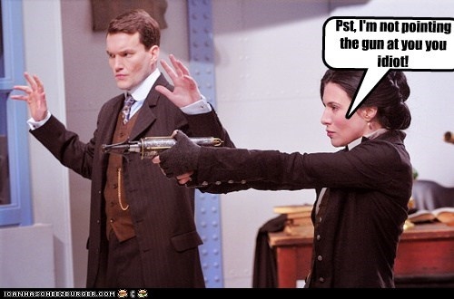 embarrassing gun h-g-wells hands up jaime murray not you pointing warehouse 13