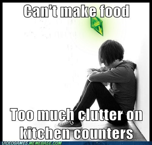 food,kitchen counters,meme,pizza,sims problems,The Sims