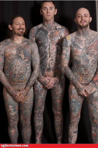 body tattoos,full coverage,three guys