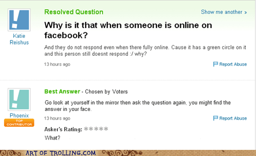 facebook,ignored,mirror,Yahoo Answer Fai,Yahoo Answer Fails