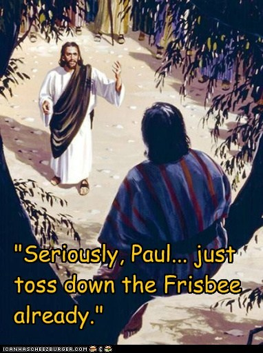 frisbee,jesus,Paul,tree