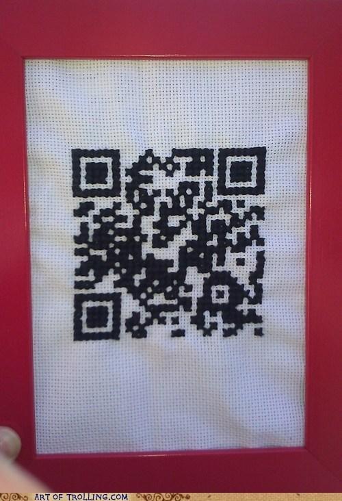 art,needlepoint,QR code,shoppers beware