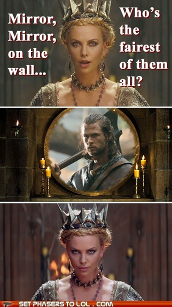 charlize theron,chris hemsworth,fairest,huntsman,mirror,seems legit