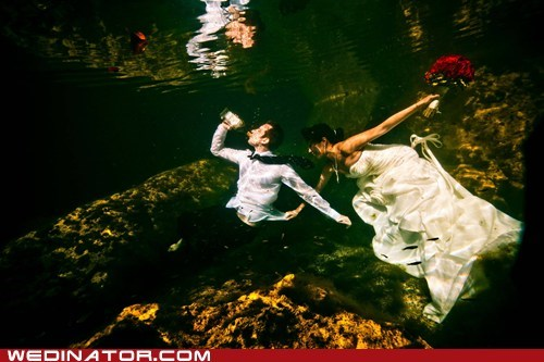 beer,bride,funny wedding photos,groom,underwater