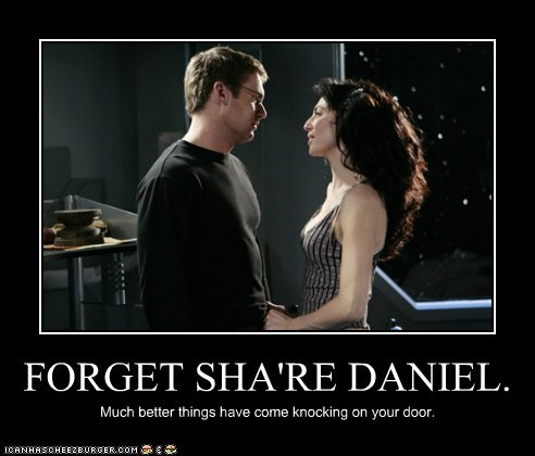 claudia black,daniel jackson,forget,knocking,michael shanks,much better,share,Stargate,vala mal doran