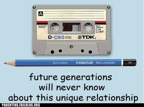 cassette tape,future generations,pencil