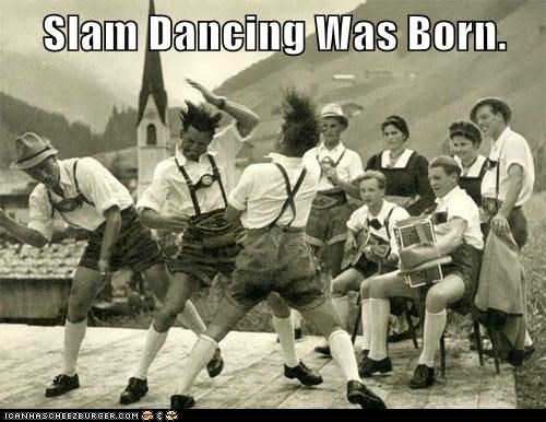 dance,dederhosen,hair,mountains,polka,violent