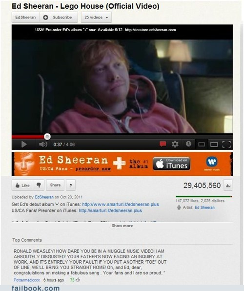 comment Ed Sheeran Harry Potter mrs weasley Ron Weasley youtube - 6273847040