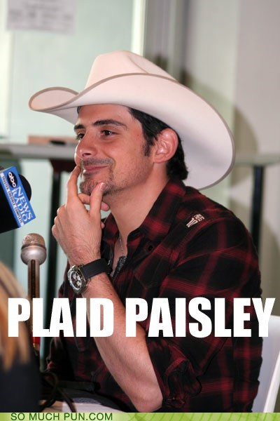 Brad brad paisley clothing fashion literalism outfit paisley pattern plaid similar sounding surname
