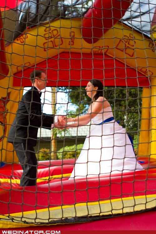 bounce,Bouncy House,bride,funny wedding photos,groom