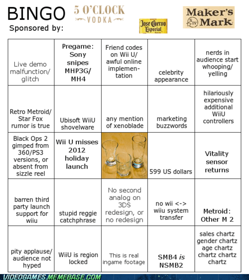 2012,bingo,drinking,e3,june 5-7,nintendo,Sony,the internets