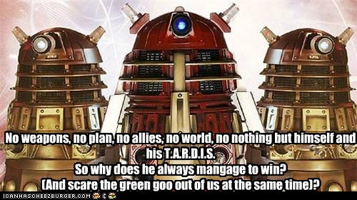 confusion,dalek,doctor who,scared,tardis,the doctor,weapons,win