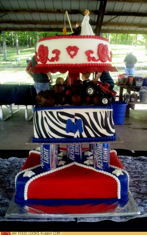 beer cans,cake,confederate flag,redneck,wedding