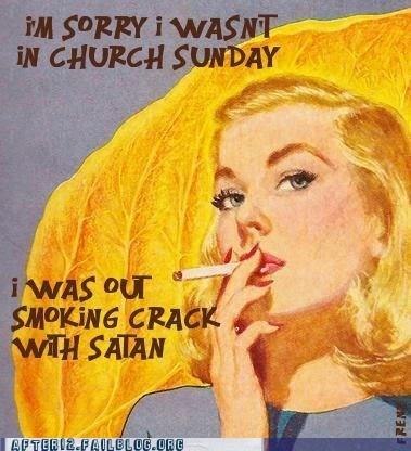 church,crack,satan,smoking crack,sunday church