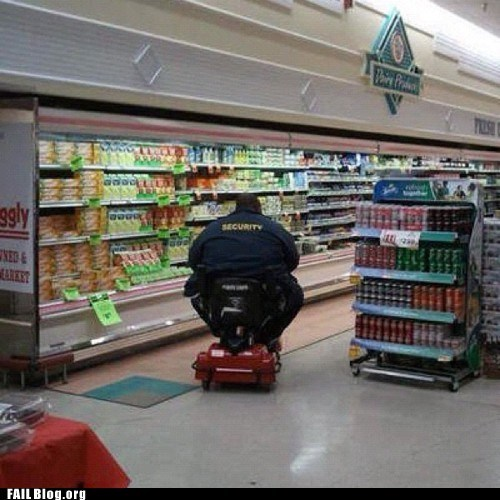 electric scooter,fail nation,g rated,grocery store,security officer