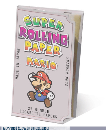 cigarette papers,joint,paper mario,rolling papers,super hash bros,Super Mario bros