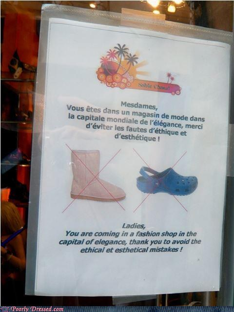 crocs,fashion,fashion emergency,g rated,Hall of Fame,poorly dressed,sign,uggs