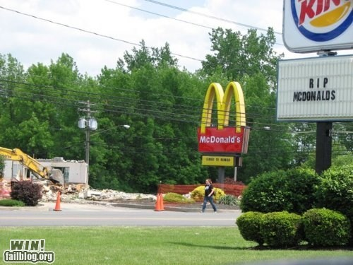 fast food McDonald's restaurant rip sign sorry