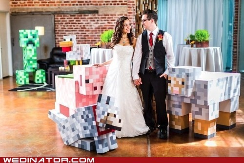 funny wedding photos,geek,minecraft,video games