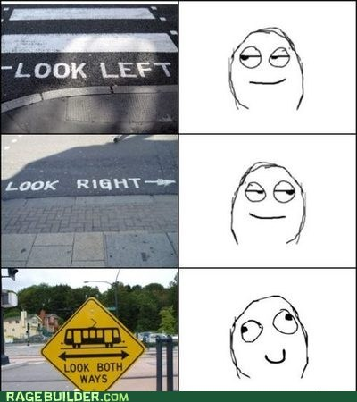 crossing Rage Comics street trolley