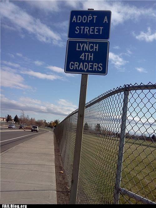 adopt a highway,funny sign,lynch 4th graders