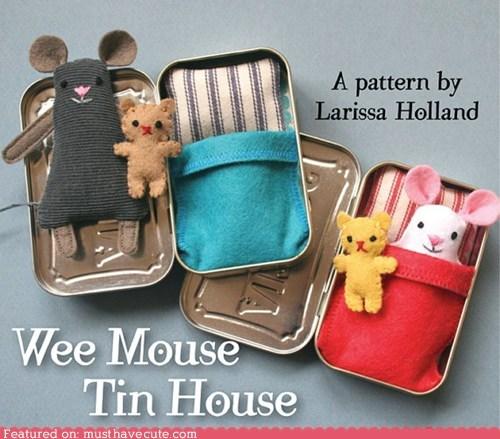 bed box DIY mouse pattern Plush sewing tin - 6276666880
