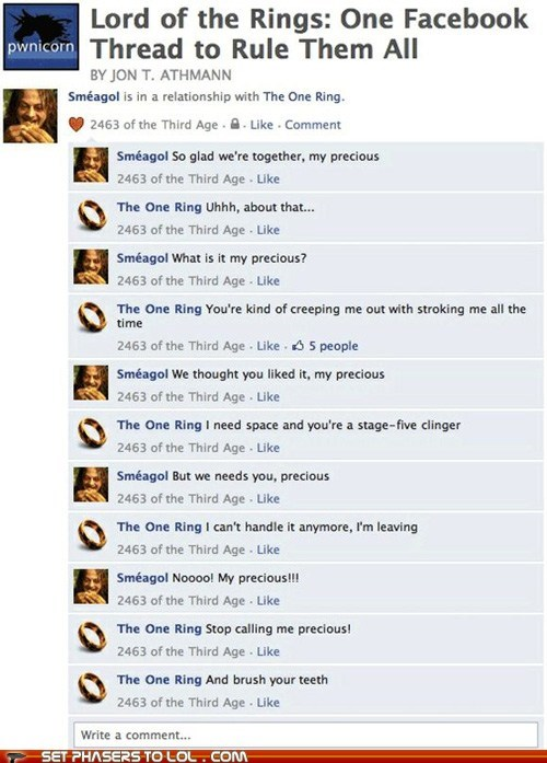 aragorn characters comic facebook frodo funny gandalf Lord of The Ring Lord of the Rings Sméagol the one ring treebeard walk - 6276773376