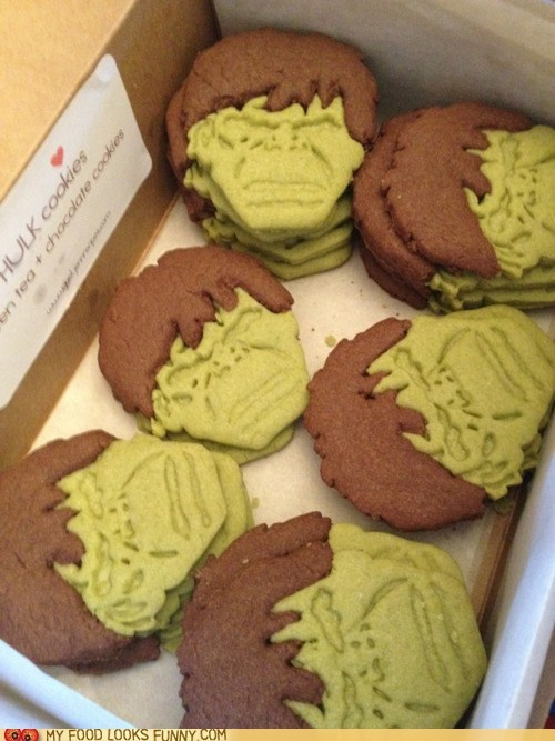 avengers chocolate cookies face green tea hulk