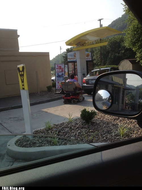 drive thru,fast food,fat,wheelchair