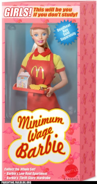 Barbie,fast food,McDonald's,minimum wage