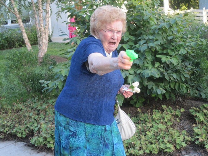 grandma aiming a toy gun photoshops