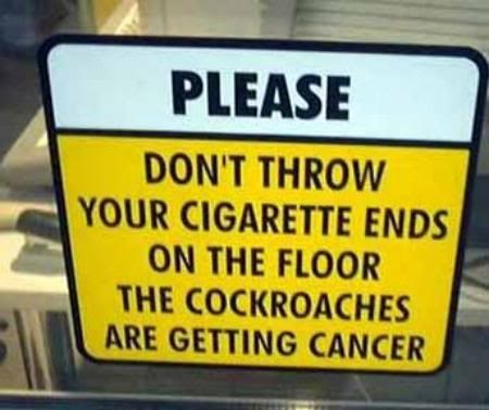 cancer,cockroaches,notice,sign,smoking,warning