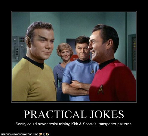 Captain Kirk,DeForest Kelley,james doohan,McCoy,mixup,practical jokes,programs,scotty,Shatnerday,transporter,William Shatner