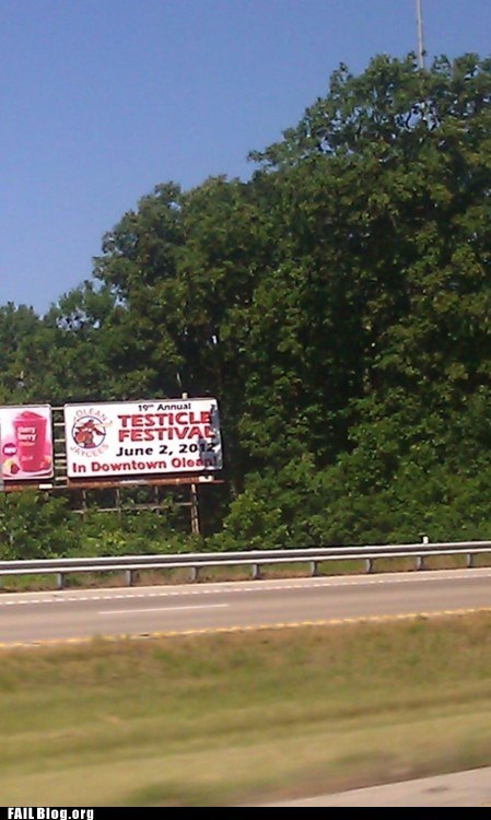 billboard fail nation funny sign g rated testicle festival - 6279411712