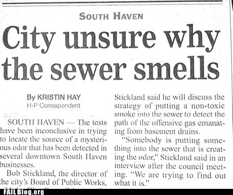 newspaper,sewer,smell