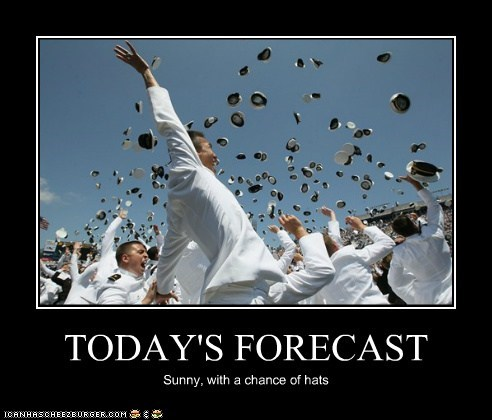 TODAY'S FORECAST Sunny, with a chance of hats