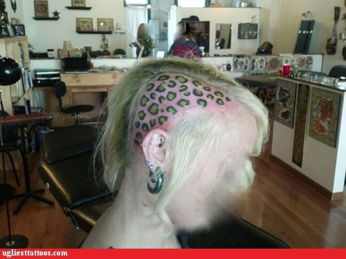 animal print head tattoos shaved head - 6279632896