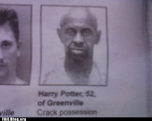 crack possession,fail nation,g rated,Harry Potter,mugshot