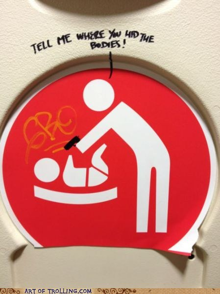 baby changing station bodies graffiti IRL sign - 6279834880